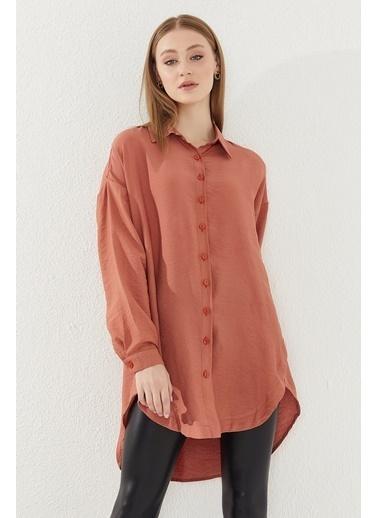Reyon REYON Kadın Yanları Düğmeli Oversize Gömlek Kiremit Kiremit